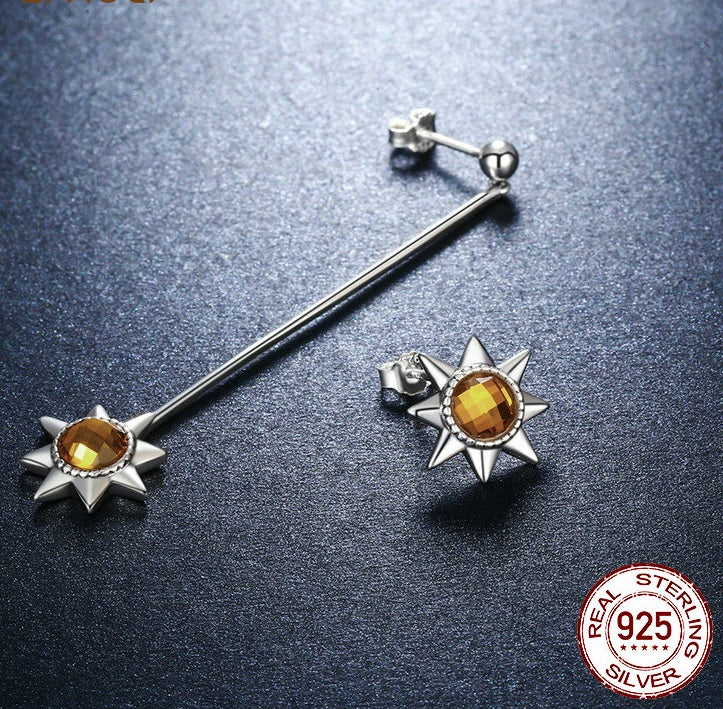 Warm Feeling of Sunshine - Designer Asymmetrical Earrings Crafted from Silver and Crystals
