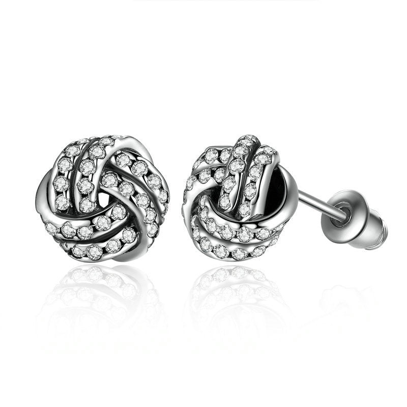 Women's Silver Plated Stud Earrings with Crystals