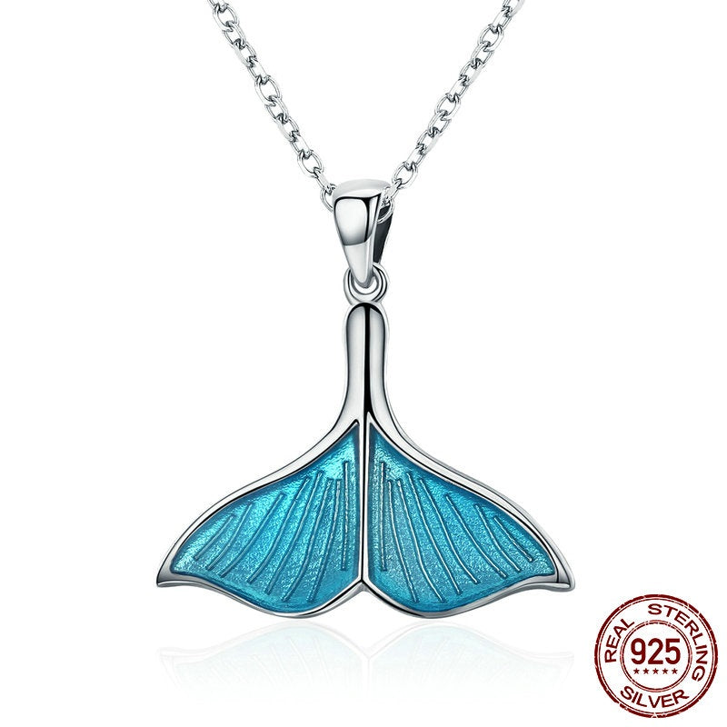Cute Dolphin's Tail Pendant Necklace, Crafted from Platinum Plated Silver
