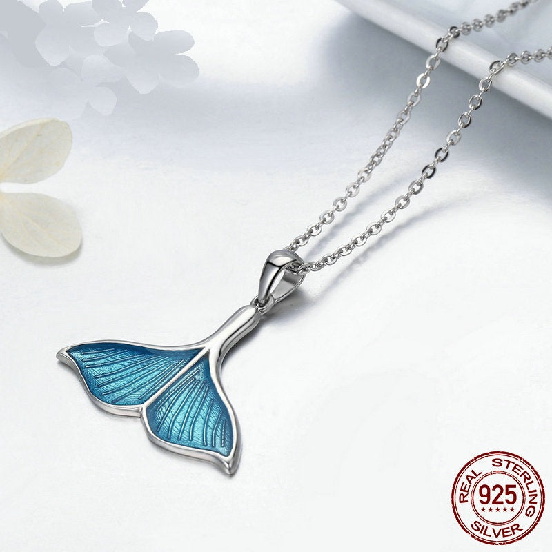 Ocean Breeze - Unique & Cute Fish's Tail Pendant with Chain, Crafted from Platinum Plated Silver