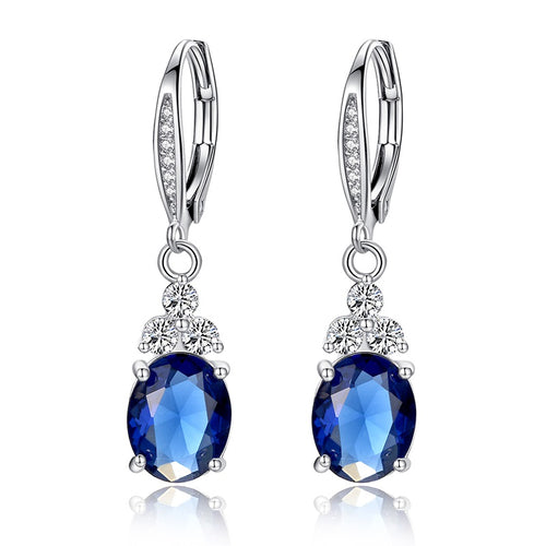 Feel Royal - Wear the Richness of Platinum Plated White or Blue Crystal Earrings