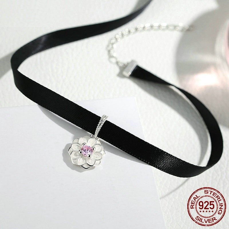 Women's Cute Black Choker Necklace with a Beautiful Flower Silver Pendant