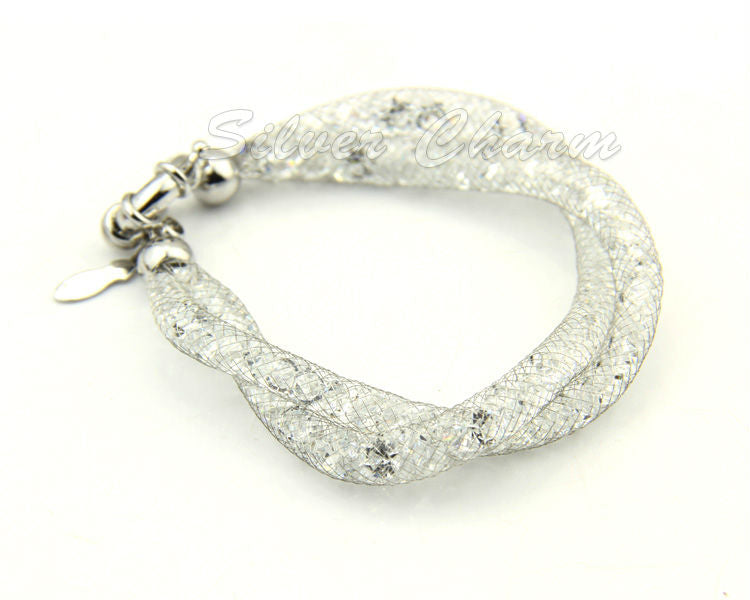 Designer White Gold Plated Fashion Bracelets with Mesh, filled with Sparkling Crystals