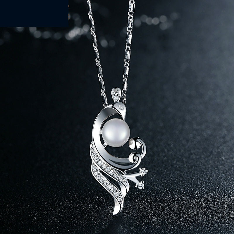 Women's White Gold Plated Pendant Necklace, Paved Crystals and Imitation Pearl