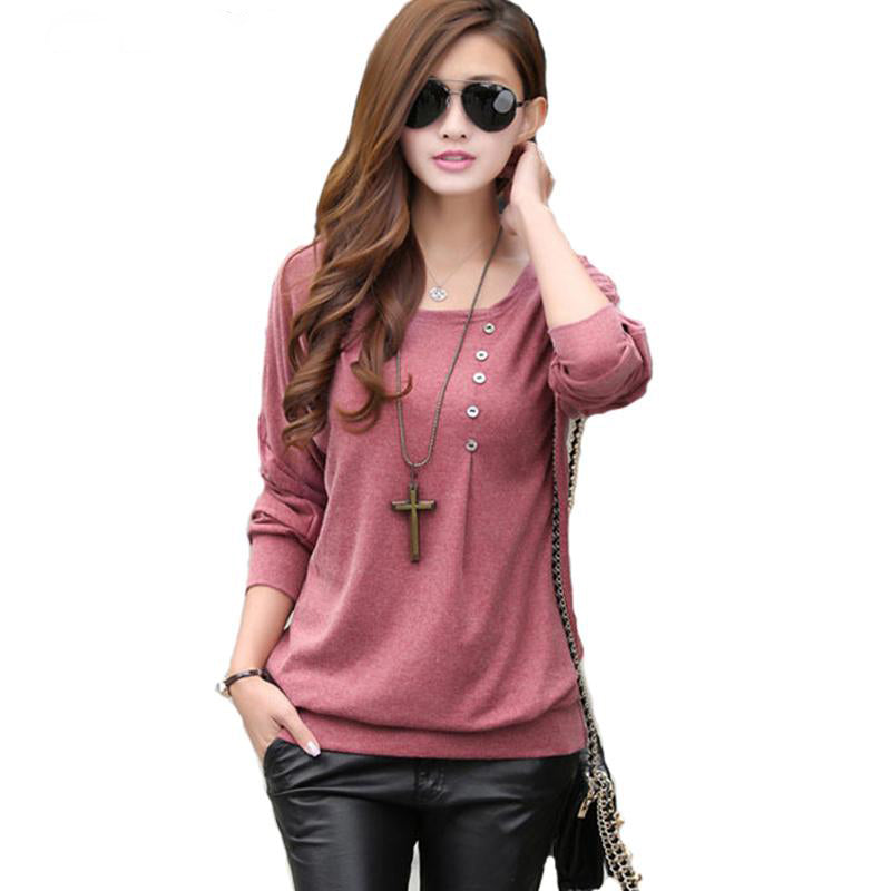 Women's Round Neck Bat Sleeve Loose Cotton T-shirt / Winter Top (Small to Plus Size - 3 Colors)