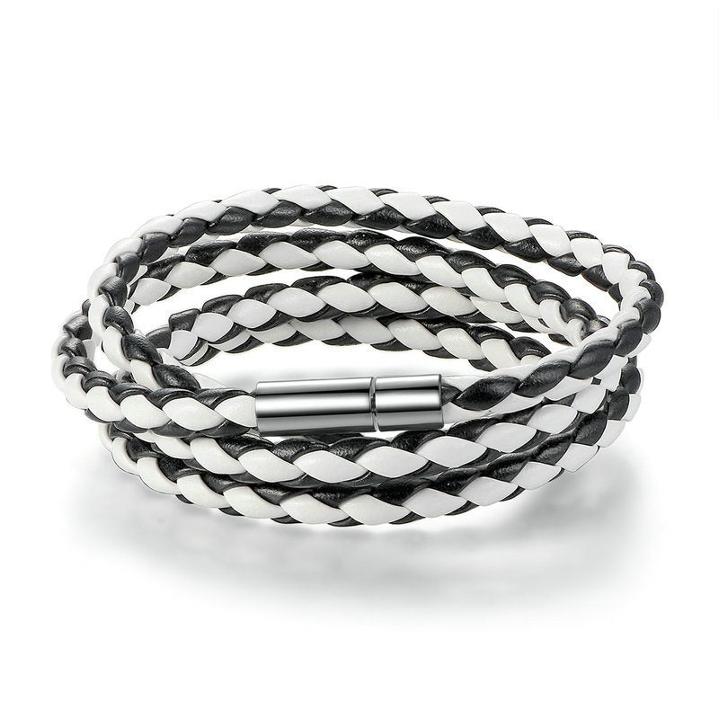 Women's Casual Black & White Leather Bracelet