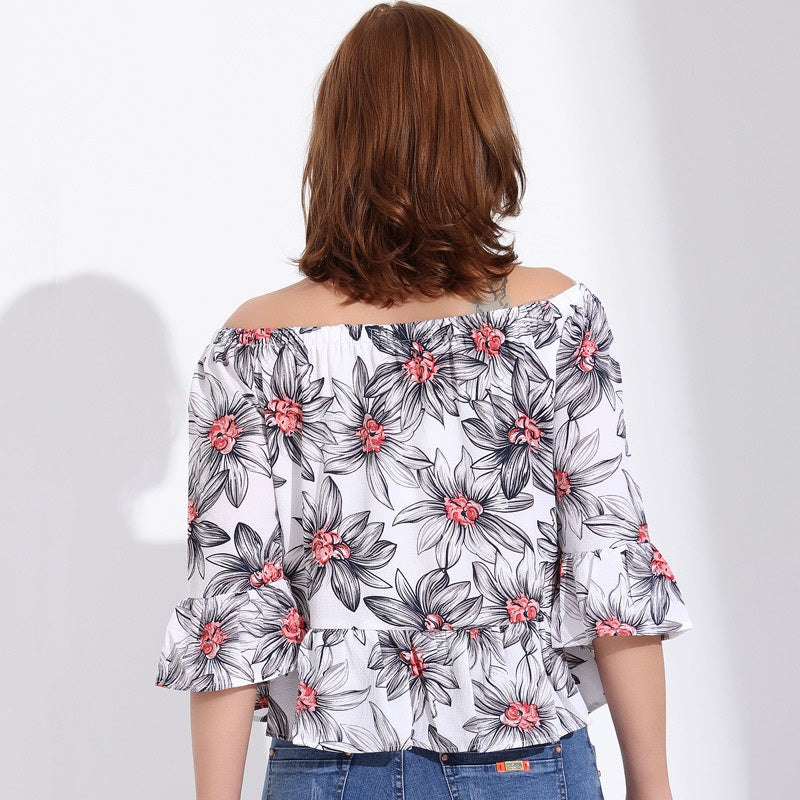 Women's Off-Shoulder White Ruffle Top  with Floral Print
