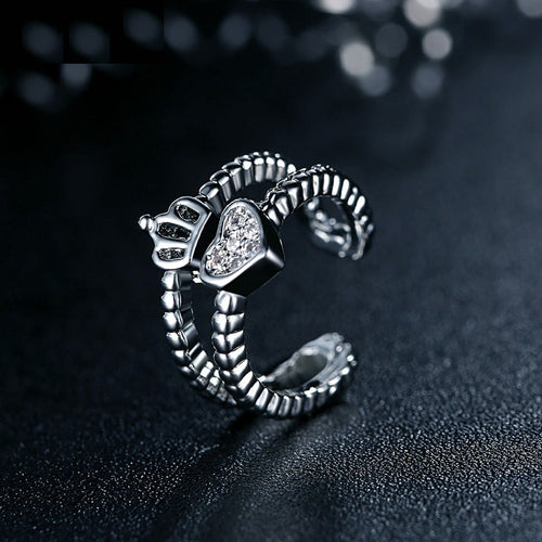 Platinum Coated Heart & Crown Finger Ring for Women