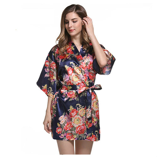 Women's Short Satin Kimono Style Sleepwear (Robes) with Floral Designs (12 Colors and 7 Sizes)