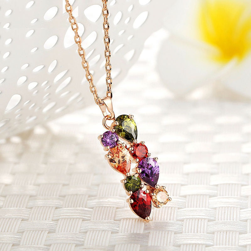 Eye Catching Pendant Necklace Crafted with Rose Gold Plated Copper with Colorful Crystals