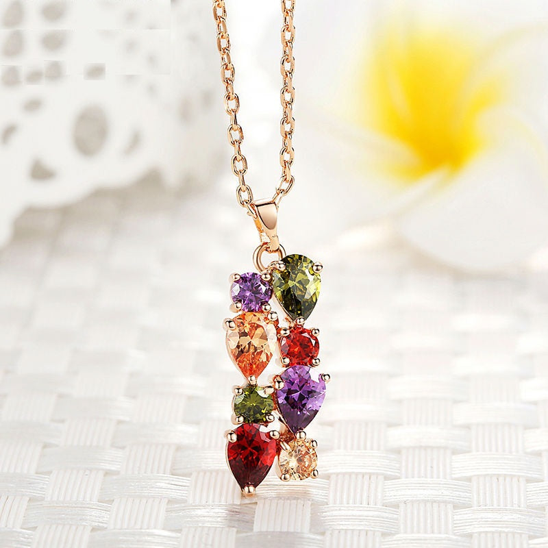 Women's Pendant Necklace Crafted with Rose Gold Plated Copper and Colorful Crystals