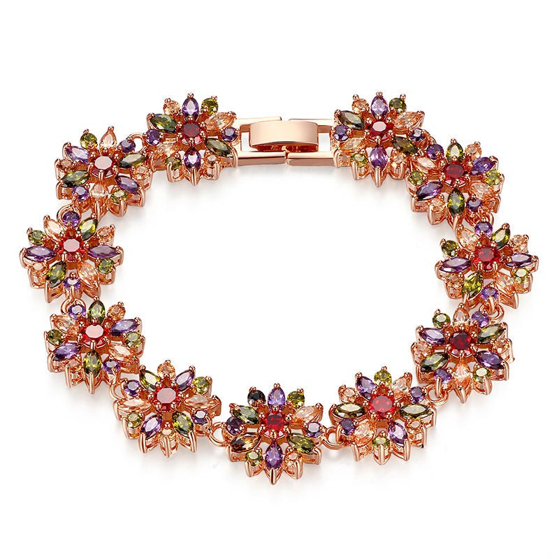 Women's Gorgeous Gold Plated Floral Bracelet Paved with Elegant Colorful Crystals