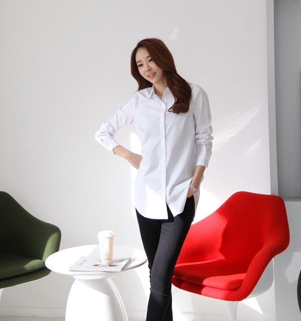 Women's Long Sleeves Elegant Casual Cotton Shirts in 4 Colors and S to XXXL Sizes