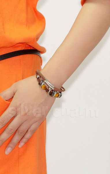 Brown Cow Leather Wrap Bracelet With Braided Alloy Metal Charms