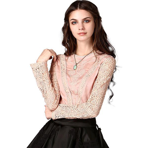 Elegant Baroque Embroidery Perforated Lace Early Fall Blouse in Pink and Black Colors and Cinched Waist