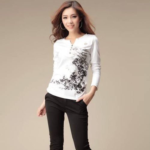 Cute Abstract Flowers Graphic Tops for Women in 2 Colors