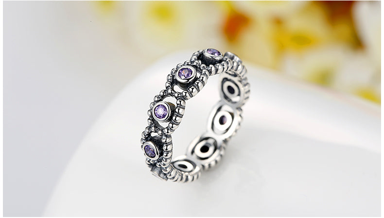 Elegant Finger Ring Crafted Lovingly with Silver and Sapphire like Crystals