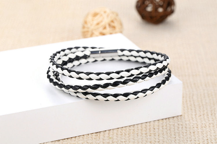 Women's multi round leather bracelet