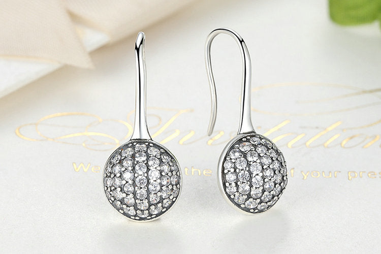 Simple Yet Elegant Silver Round Drop Earrings for Women, crafted from Silver and Crystals