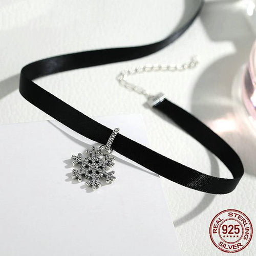 Women's Cute Black Choker Necklace with a Beautiful ice Crystal Silver Pendant