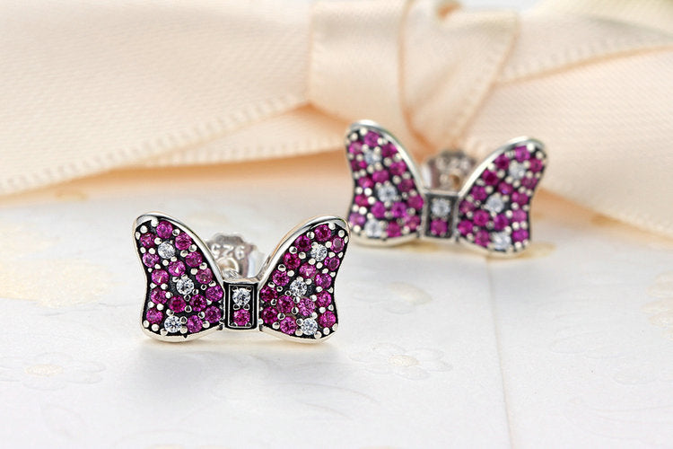 Youthful Cuteness - Bow Knot Like a Butterfly - Designer earrings Crafted from Silver and Elegant Crystals