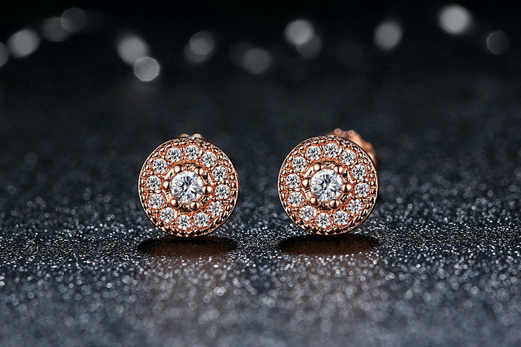 Elegance of Diamonds - Round Stud Earrings Crafted from Gold Plated Silver and Crystals