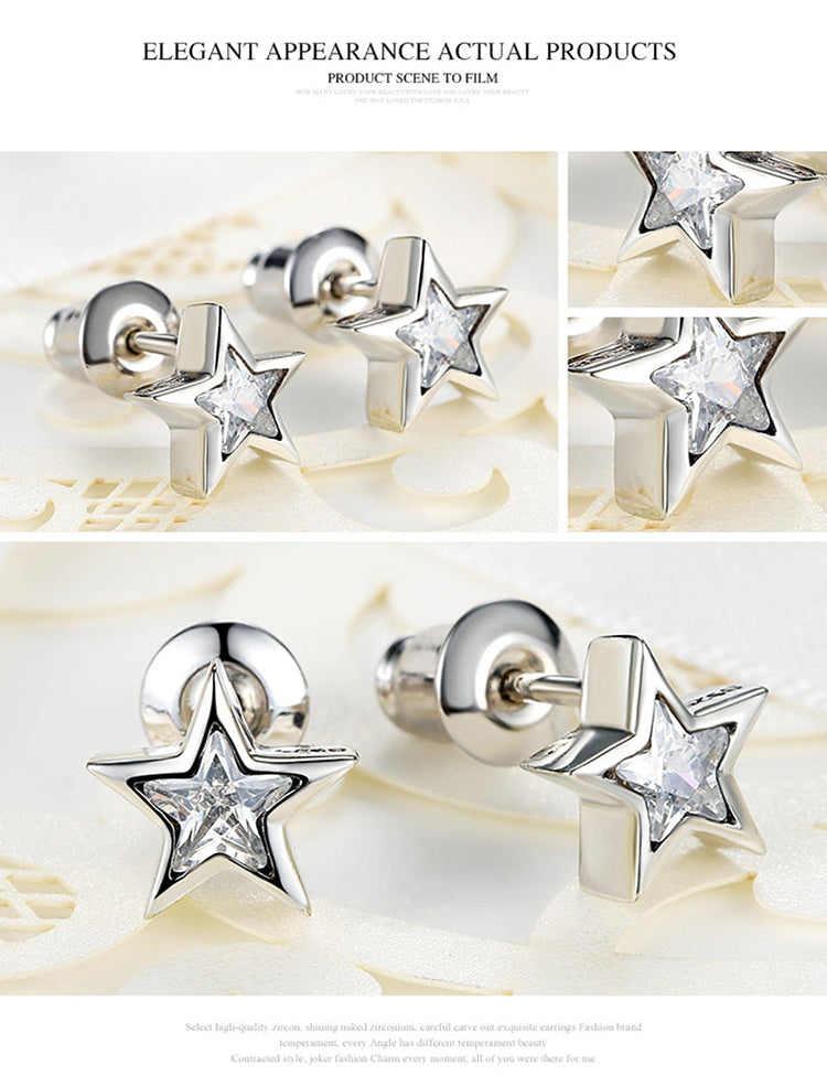 Star-Shine: Beautifully Crafted Silver Plated Stud Earrings with Crystals