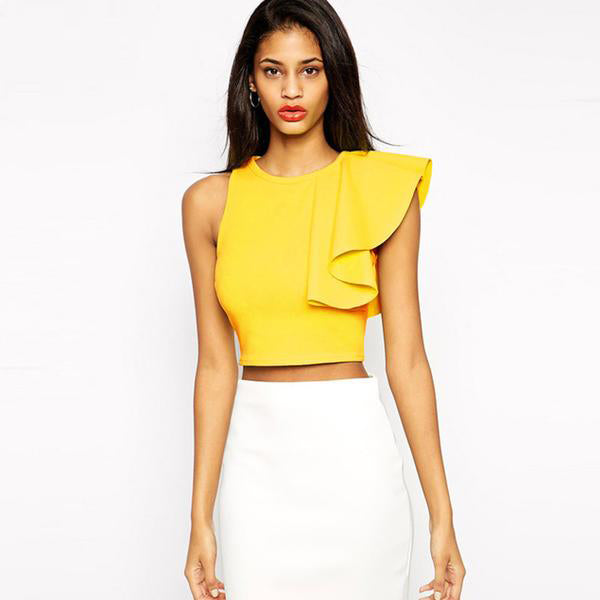 Women's Sexy One Shoulder Sleeveless Ruffle Crop Top With Round Neck (Black/Yellow)