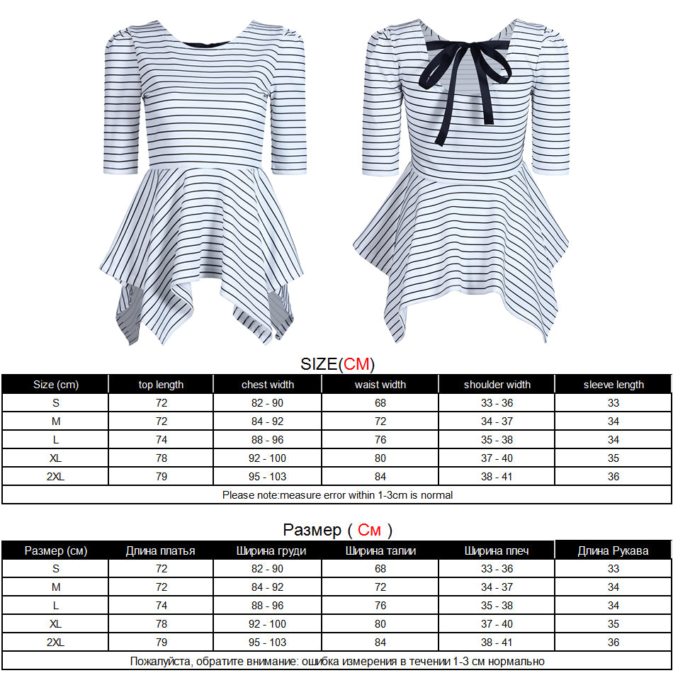 Korean Style Women's Top with White & Black Stripe and partly Open Back