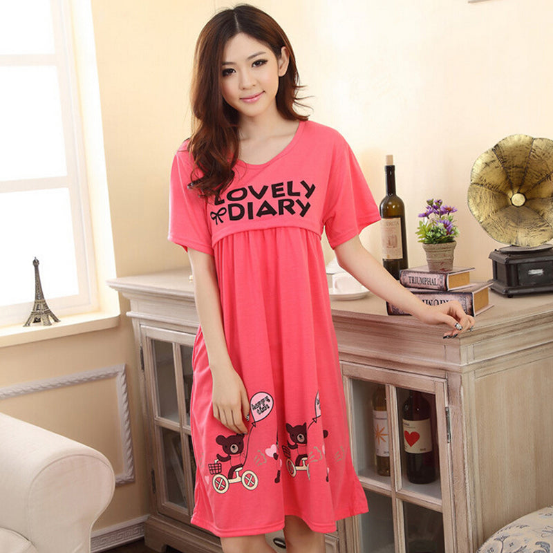 Mom's Cute Nursing Home-Wear / Nightwear for Easy Breastfeeding in 3 Colors