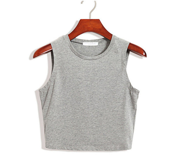 Women's Skinny Crop Top for Casual or Fitness Wear in 3 Colors