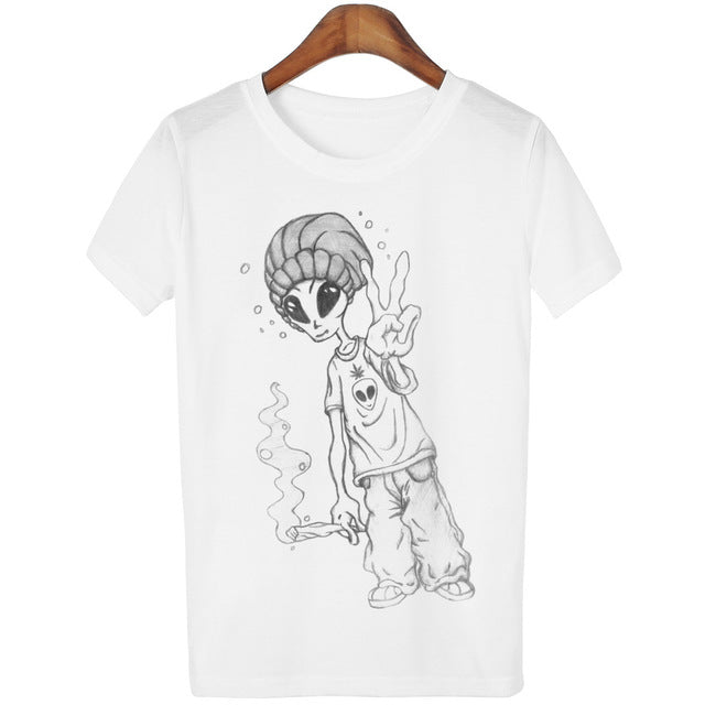 19 Designs of Cool Funny Alien Cartoon T-Shirts for New Women in 4 ...