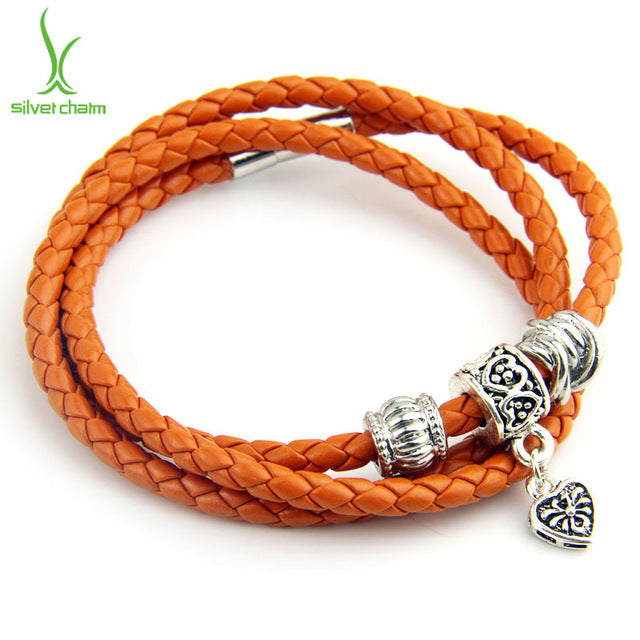 Gorgeous Casual Leather Bracelet in Orange Color