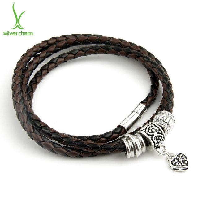 Gorgeous Casual Leather Bracelet in Brown & Black Colors