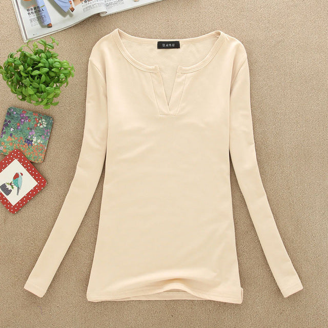 Solid 14 Colors V-Neck Sexy Slim Knitted Long Sleeve Blouses