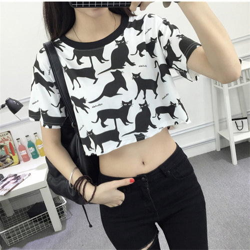 Summer Harajuku Fashion Crop Tops - Cartoon Cat Printed (White and Pink)