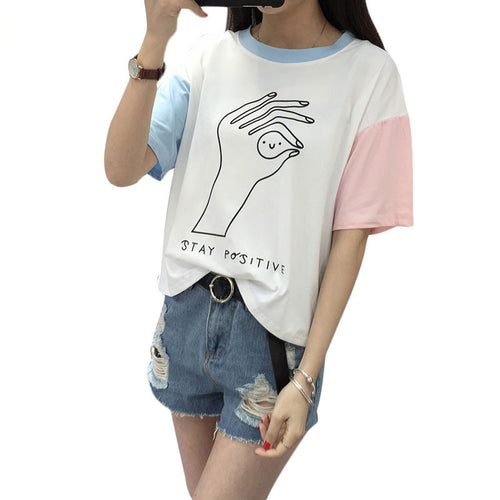 Harajuku Hit Color Sleeves Summer T-shirt