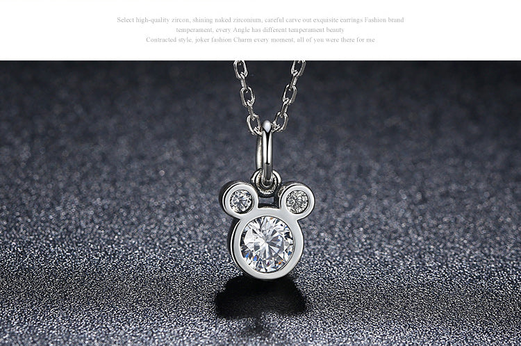 Women's Pendant Necklace Crafted from Silver and Diamond like Crystals - Youthful Cuteness with a Touch of Disney