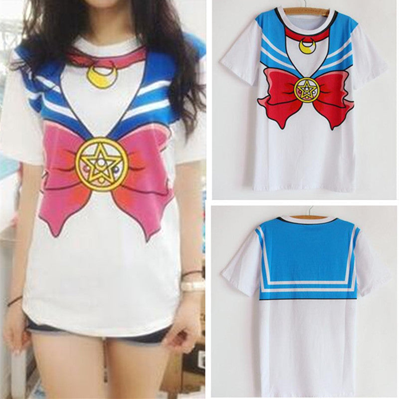 Hot Harajuku Style Sailor Moon T-Shirt for Women in Pink and Blue Colors and 4 Sizes