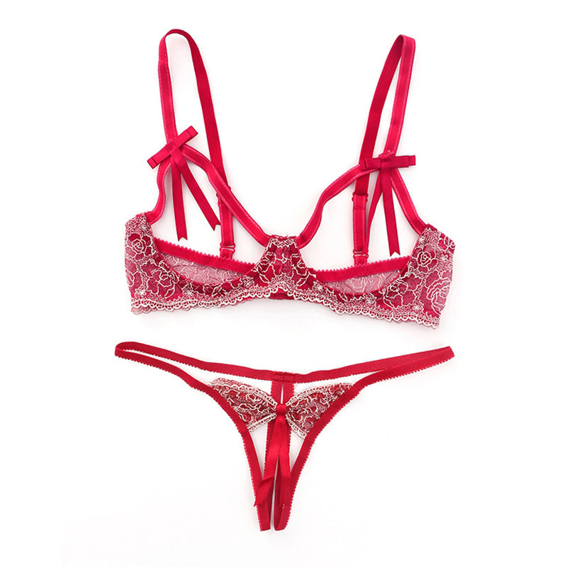 Sexy Ultra Slim Pink Bra Brief Set - Lace Embroidery Lingerie
