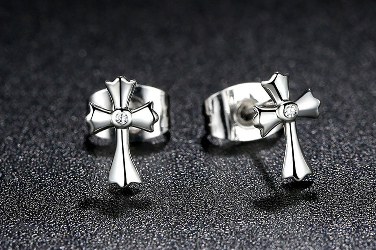 A Simple & Cute Set of Earrings with a Cross, Crafted from Silver and Crystals