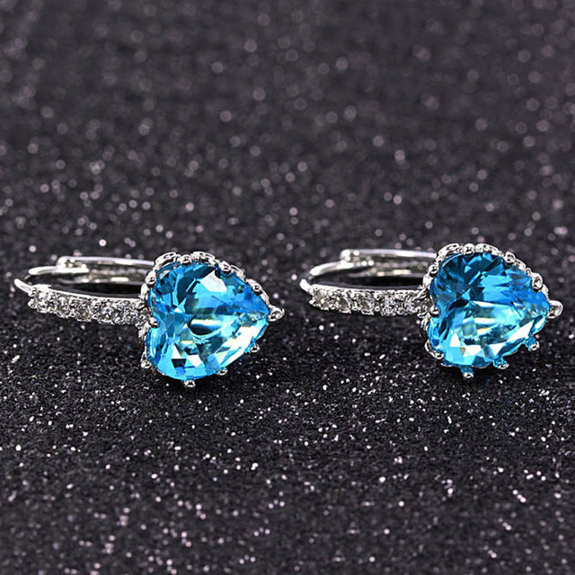 Colorful Elegance - Trendy Platinum Plated Earrings with 4 Colors Crystal Variants