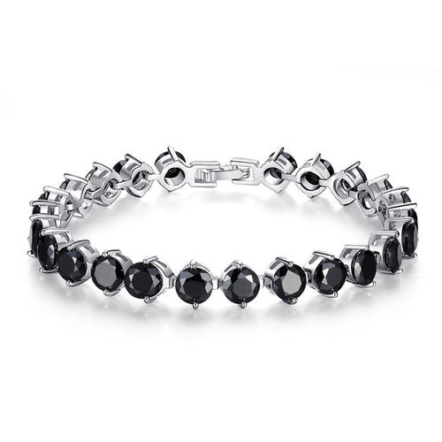 Gorgeous Platinum or Gold Plated Bracelets Paved with Black Crystals