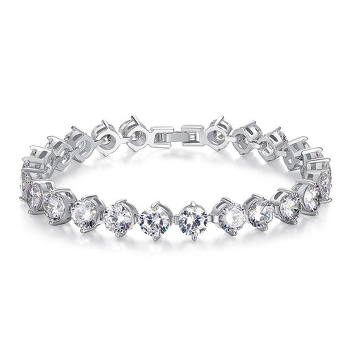 Elegance of Diamonds or Cool Black Crystals - 3 Types of Gorgeous Platinum Plated Bracelets Paved with Crystals