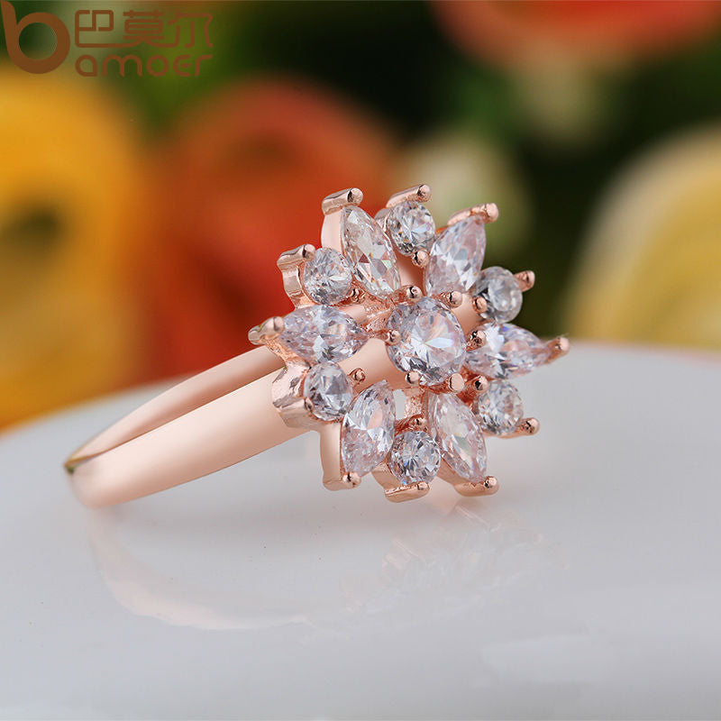 Cute Rose Gold or White Gold Plated Finger Ring for Women Paved with Crystals (3 Color Variants - 4 Sizes each)