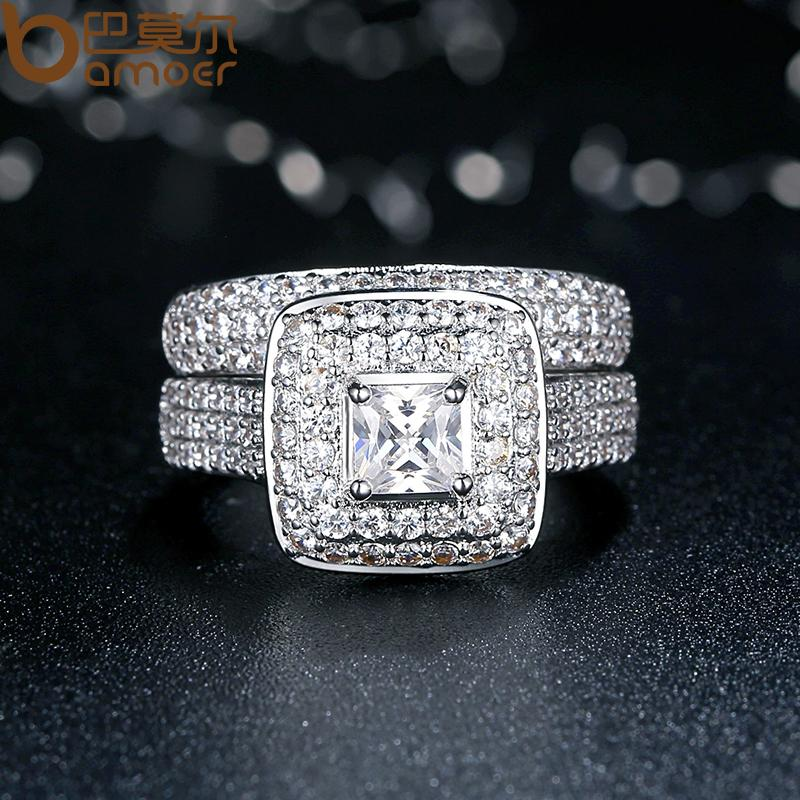 White Gold Color Plated Ring Set (2-in-1) Square Stone Crystal Finger Ring with Paved AAA Zirconia Crystals