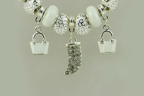 Women's Gorgeous Charms Bracelet With Lovely White and Silver Beads