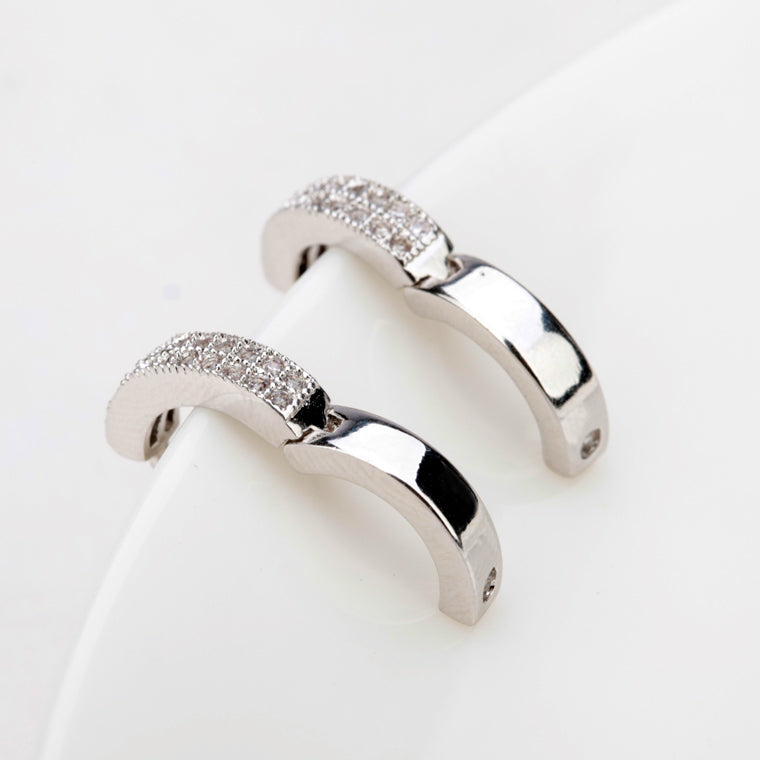 Luxury of Diamonds - White Gold Plated Hoop Earrings for Women Clear Crystals
