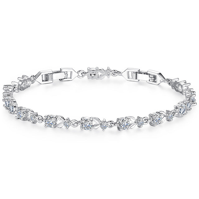 Gorgeous Platinum Plated Bracelets Paved with Brilliant Clear Crystals