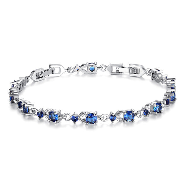 Gorgeous Platinum Plated Bracelets Paved with Brilliant Blue Crystals